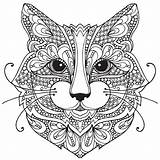 Coloring Cat Pages Adult Mandala Animal Colouring Mandalas Drawing Zentangle Books sketch template