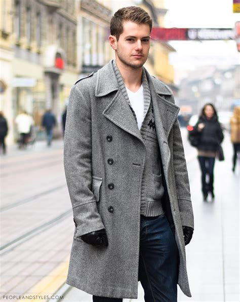 guys casual winter outfit grey coat   woolly cardigan
