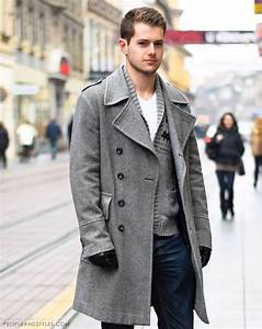 Guys Casual Winter Outfit Grey Coat and a Woolly Cardigan