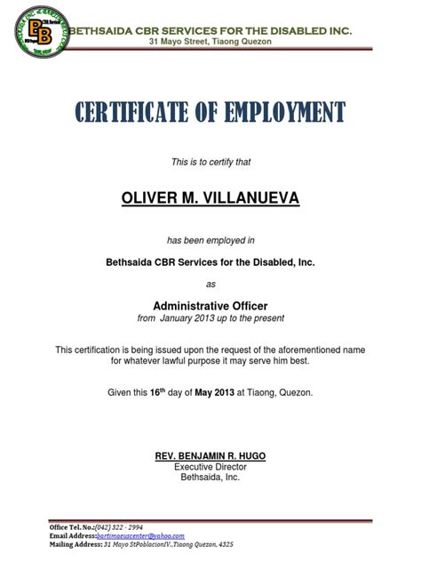 The Employment Company by Certificate Of Employment Sle Docx