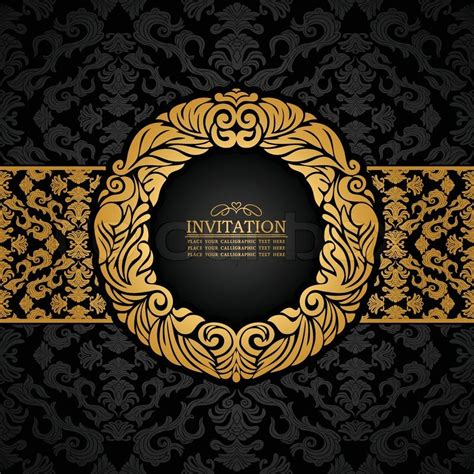 Black White Damask Wallpaper Abstract Background With Antique Luxury Black And Gold Vintage Frame Ornate Banner Damask