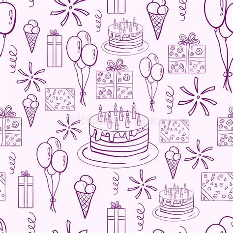 happy birthday vector doodle seamless pattern stock vector