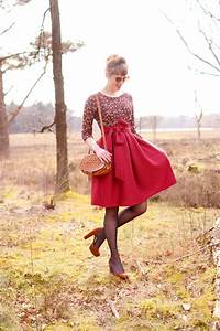 Outfit Red midi skirt with ribbon u2013 Retromantisch