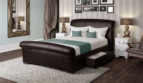 santino brown faux leather bed frame cm  images