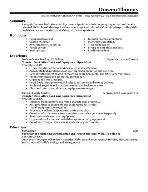 Environmental Specialist Resume by Best Counter Desk Attendant Equipment Specialist Resume
