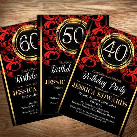 Black Red Gold Birthday Party Invitation / Digital Printable