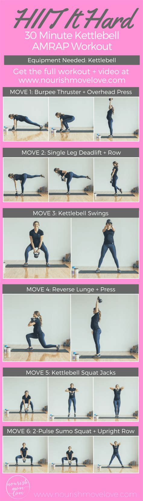 kettlebell workout hiit amrap minute hard workouts sumo body kettle bell pyramid squat nourishmovelove exercises upright swings move killer min
