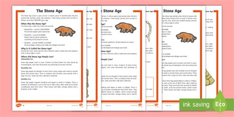* New * Lks2 The Stone Age Differentiated Reading Comprehension Activity
