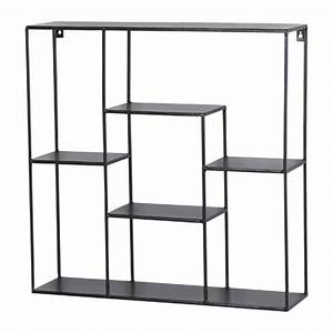 Etagere Metal Noir : etag re murale ou poser en m tal noir 6 niches anasta ~ Edinachiropracticcenter.com Idées de Décoration
