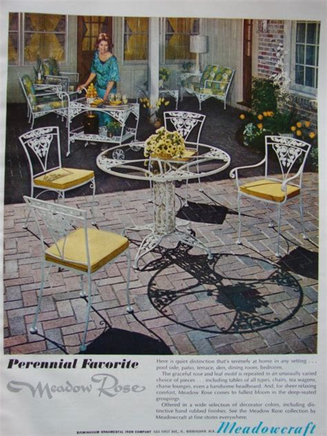vintage meadowcraft wrought iron patio furniture meadowcraft ad 1968 vintage wrought iron patio
