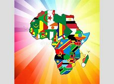African Continent Flag Map stock vector Illustration of