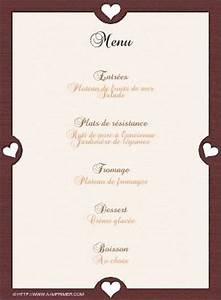 Modele De Menu A Imprimer Gratuit : menu de f te gratuit imprimer petits coeurs a ~ Melissatoandfro.com Idées de Décoration
