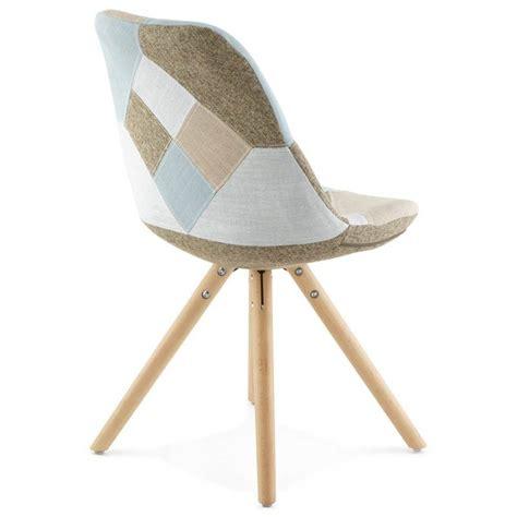 chaise tissu beige chaise patchwork style scandinave boheme en tissu bleu