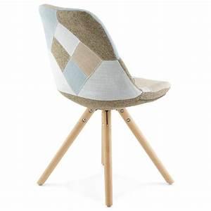 Chaise En Tissu : chaise patchwork style scandinave boheme en tissu bleu gris beige ~ Teatrodelosmanantiales.com Idées de Décoration