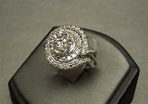 14k 242tcw round diamond spiral engagement ring 2pc With spiral wedding ring