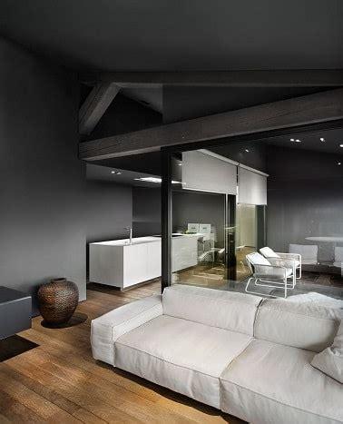 tendance peinture cuisine gris anthracite mur plafond dans le salon et la cuisine