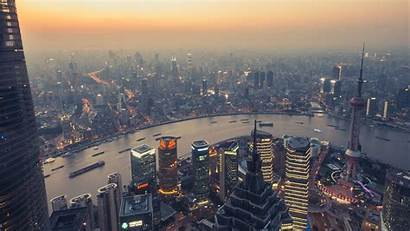 Smog Panorama 1080p Background River Megalopolis Buildings