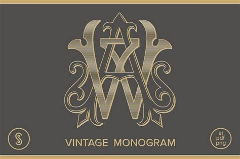 aw monogram wa monogram graphics beautiful hand crafted vintage monogram created authentically