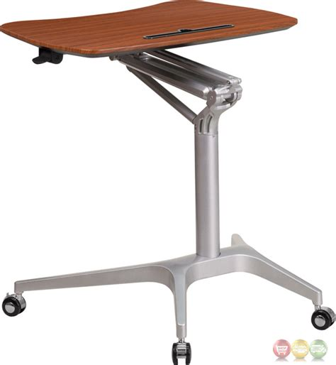 mobile sit stand desk mobile sit down stand up mahogany computer desk w 28 75 quot w