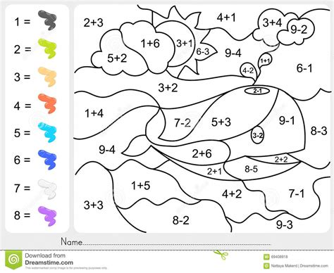 free printable color by number addition worksheets color