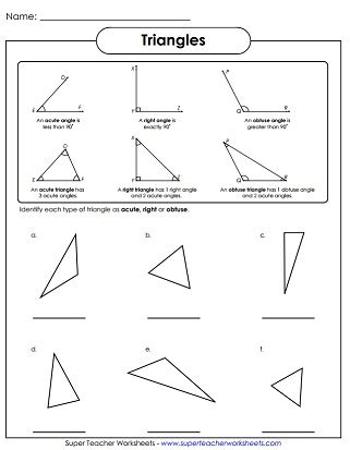 angle types acute obtuse  worksheets