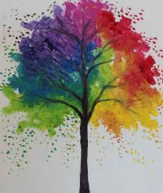 rainbow tree painting at home paintingparties