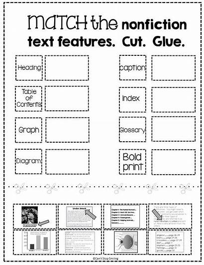 Text Features Nonfiction Activity Matching Worksheets Graphic