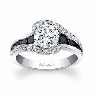 Barkev39s modern black diamond engagement ring 7898lbk for Black wedding rings with diamonds