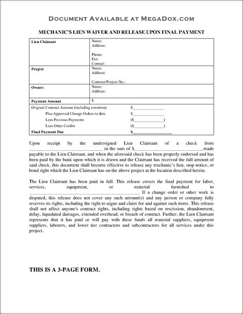 material supplier lien waiver form template  resume