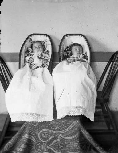 Twin Infants In Coffins  Studio Portrait Of Deceased Twin