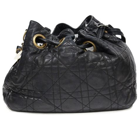 dior black leather cannage bag  chic selection