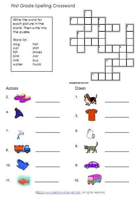 First Grade Spelling Puzzles & Worksheets