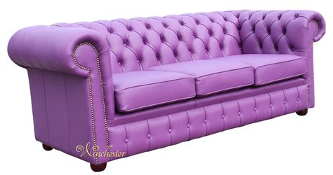 Chesterfield Settee by Chesterfield 3 Seater Settee Wineberry Purple Leather Sofa