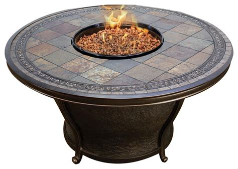 round gas fire table agio tempe 48 quot round slate top gas fire pit table