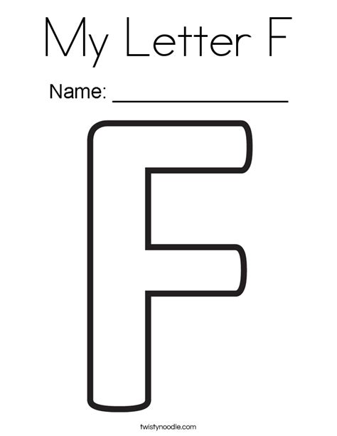 my letter f coloring page twisty noodle jeffersonclan