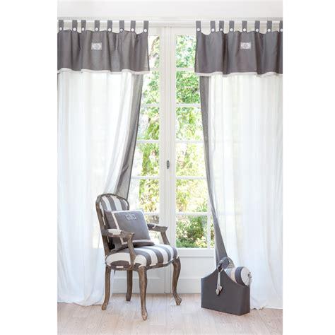 voilage chambre bébé garçon rideau à passants en coton blanc et gris 140 x 300 cm