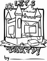 Bounce Clipart Bouncy Coloring Castle Birthday Clipground Template Sketch Colorinkids Personalization Hb003 sketch template