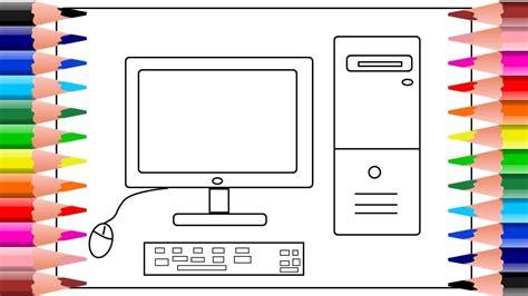 Como dibujar una computadora facil dibujos para colorear