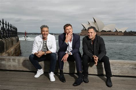 Taika Waititi Chris Hemsworth And Mark Ruffalo Promote
