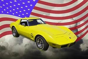 1975 Corvette Stingray Sports Car And American Flag