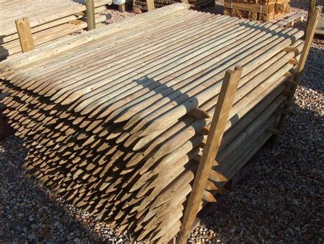 10 X 1.65m (5.5ft) X 40mm Diam. Round Wooden Fence Posts