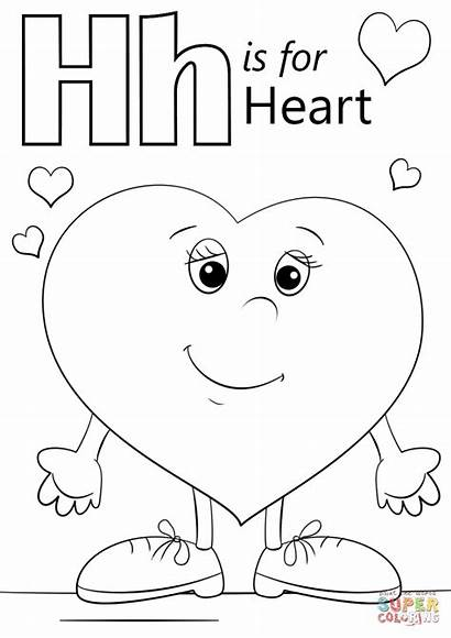 Letter Coloring Heart Pages Printable Preschool Activities