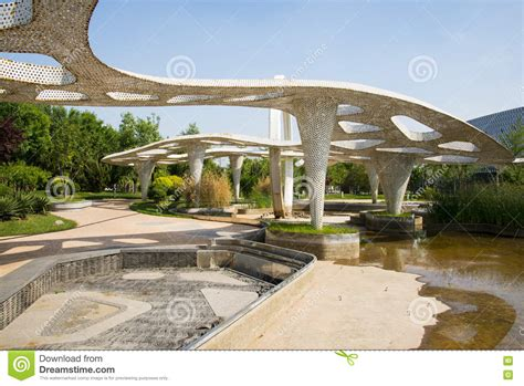asia beijing garden expo modern architecture pavilion editorial photography image