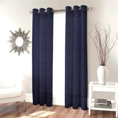 panel navy blue window silk  grommets curtain drapes