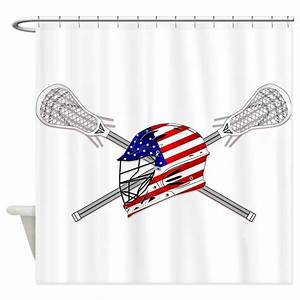 american flag lacrosse helmet shower curtain by ddbaz With kitchen colors with white cabinets with baseball helmet stickers
