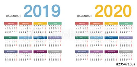 colorful year year calendar horizontal vector design