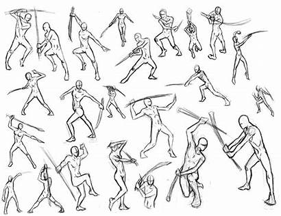 Action Sword Poses Pose Battle Manga Reference