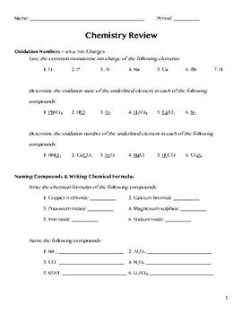 Chemistry Review Practice Worksheet Or Assessment By Dani Boepple