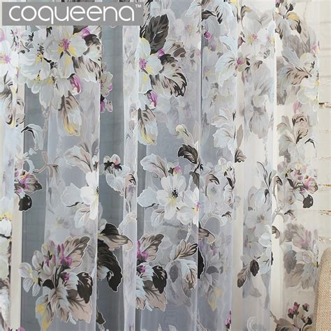 ready  custom flower floral voile sheer tulle curtains