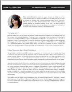 Venture Capital Cv Template by Resume Bio Template Radiocaffefm